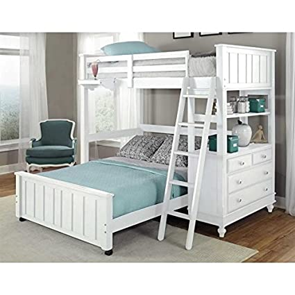 Amazoncom Rosebery Kids Twin Loft Bed With Full Lower Bed In White