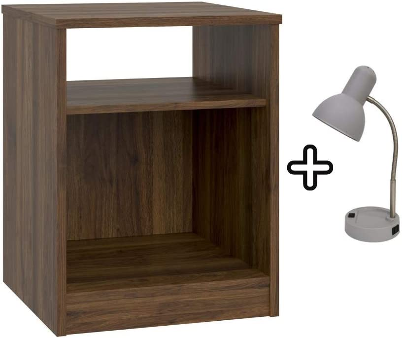 Mainstays Classic Look Nightstand Features Open Top Shelf and Bottom Cubby with Table Lamp, Canyon Walnut