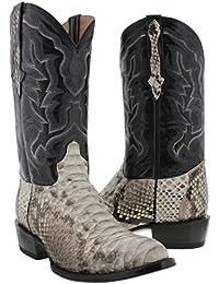 Men's Natural Genuine Python Back Snake Skin Cowboy Boots Round