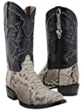 Cowboy Professional - Men's Natural Genuine Python Back Snake Skin Cowboy Boots Round 13 D(M) US