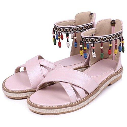 Femmes Dames Pink Bohème L'été Filles Pendentif Perles Gland Sandales Plates Hope Colorées des pour Les TPSCqxw1T