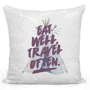 """Sequin Throw Pillow Eat Well Travel Oftern Tribal Boho Teepee FloralPrinted White Silver Sequin - 16"""" x 16"""""""