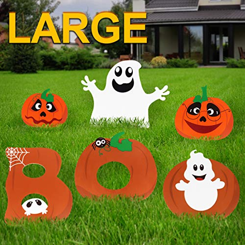 Pawliss Halloween Decorations Outdoor, Extra Large 6ct Boo Pumpkins Ghost Corrugate Yard Signs with Stake, Family Friendly Trick or Treat Party Plastic Décor -
