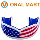Oral Mart American Flag Mouth Guard (Adult/Youth) – Cushion USA Flag Mouth Guard for Flag Football, Karate, Boxing, Sparring, Basketball, Rugby, Martial Arts for Kids/Adults (with Vented Case)