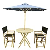 Zew 4-Piece Bamboo Outdoor Patio Set Includes Round Table, 2 Treated Canvas Chairs and 1 Umbrella, Aqua