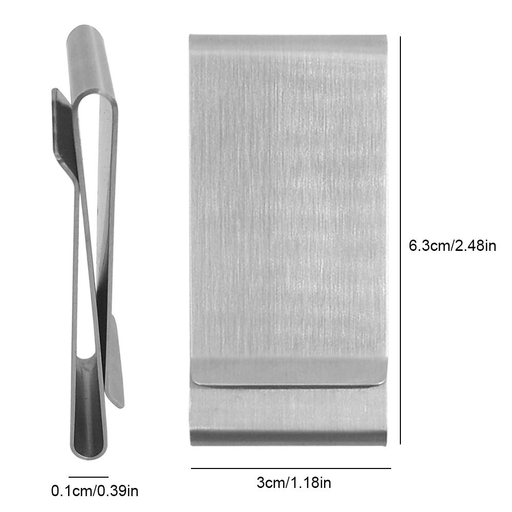 Double Side Stainless Steel Money Clips YuCool 2 Pack Cash Credit Card Holder-