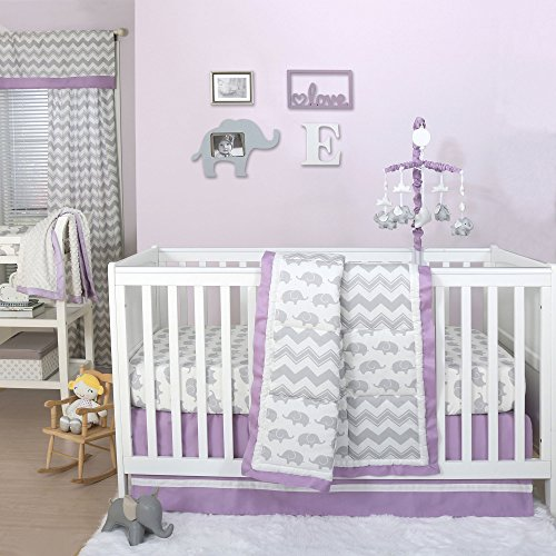 Ellie Patch Elephant and Chevron Crib Bedding - 11 Piece Sleep Essentials Set ()