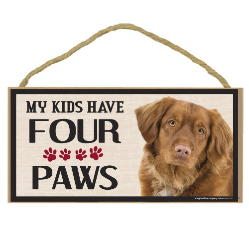 Imagine This Wood Breed Four Paws Sign, Duck Toller