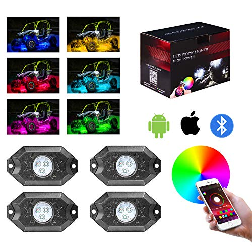 (Teochew-LED RGB Rock Light Kits with Bluetooth Controller Off Road 4 Pods LED Rock Lights Multicolor Underglow Neon Lights for Truck jeep ATV Car UTV RZR, 1 Year Warranty )