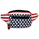 Santa Playa Patriotic Flag Fanny Pack, Stylish Party Boho Chic Handmade with Hidden Pocket by (All American USA)