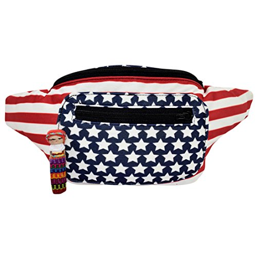 Patriotic Flag Fanny Pack, Stylish Party Boho Chic Handmade with Hidden Pocket (All American USA)