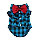 Fitwarm Western Plaid Dog Shirts for Pet Clothes Polo Apparel + Wedding Bowtie XXL