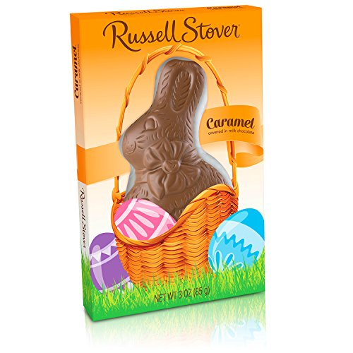 Russell Stover Milk Chocolate Caramel Flat Back Rabbit, 3 Ounce, 12 Count ()