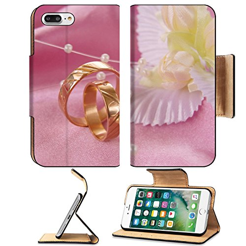 Luxlady Premium Apple iPhone 7 Plus Flip Pu Leather Wallet Case iPhone7 Plus 3399799 wedding golden rings with decoration on pink satin