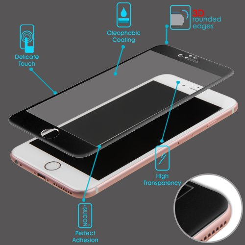 3D Curved Edge Titanium Alloy Tempered Glass Screen Protector/Black for APPLE iPhone 6s Plus/6 Plus