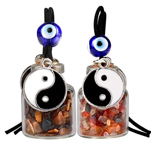 Yin Yang Balance Small Car Charms or Home Decor Gem Bottles Carnelian and Tiger Eye Protection Amulets