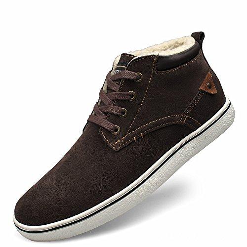 WZG zapatos coreanos hombres zapatos de algodón acolchado zapatos calientes masculinos grandes yardas nueva marea de cuero de gamuza de alta superior zapatos casuales de los nuevos hombres de invierno Brown