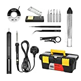 Soldering Iron Kit,Meterk 14PCS 60W Adjustable Temperature Soldering-Iron Gun Kit Soldering Tips Solder Sucker Desoldering Wick Solder Wire Anti-Static Tweezers and Stand with Cleaning Sponge