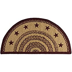 VHC Brands Classic Country Primitive Flooring - Burgundy Tan Jute Red Stenciled Stars Half Circle Rug