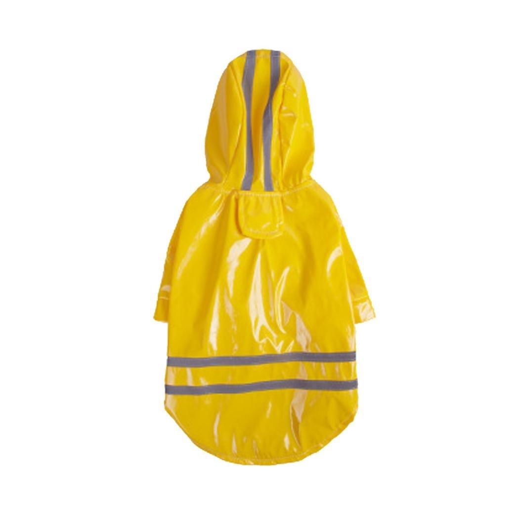 Alalaso Dog ClothesPet Dog Hooded Raincoat Pet Waterproof Puppy Dog Jacket Outdoor Coat Costume (S, Yellow)