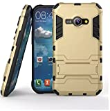 Heartly Samsung Galaxy J1 Ace SM-J110 Back Cover Graphic Kickstand Hard Dual Rugged Armor Hybrid Bumper Case - Mobile Gold