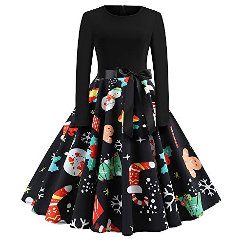 KCatsy 2024 Christmas Print Large Swing Long Sleeve Stitching Dress Black ()