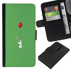 LG G3 - Dibujo PU billetera de cuero Funda Case Caso de la piel de la bolsa protectora Para (Cute Balloon Kitty Cat - Funny)