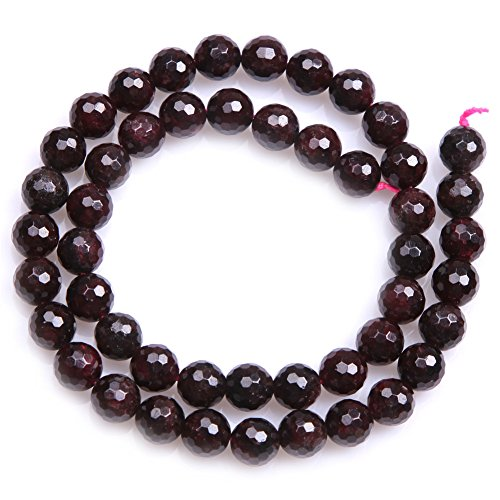 Faceted Garnet Earrings (Natural Round Faceted Garnet Gemstone Loose Beads In Bulk One Strand 15