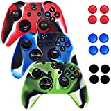 [3 Pack] Xbox-One Controller Case SlickBlue Camo Series -3 Silicone Protection Case Skin for Xbox-One DualShock Controllers with Grip (Blue / Red / Green)