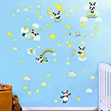 Zooarts Cartoon Forest Panda Rainbow Wall Stickers For Kids Room...