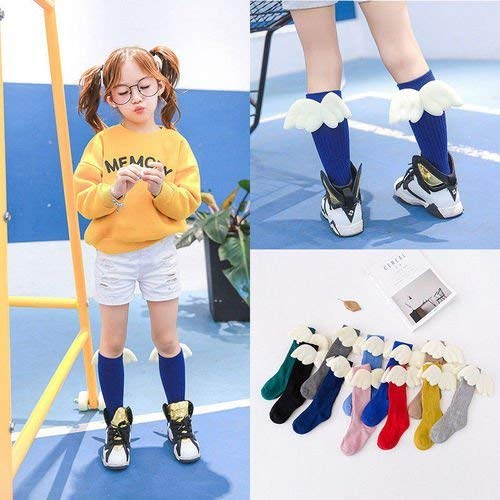 Price comparison product image Winter Kids Children Girls Long Socks Cute Over Knee High Angel wings Baby Gifts (L)