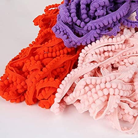 5yard//lot 10mm Width Pom Pom Ball Fringe Ribbon for Garment Sewing Material Accessories for Home Decoration - 20 Colors Lace Crafts - Color: Ivory