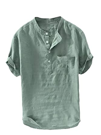 2646a34e9 Beotyshow Mens Summer Linen Henley Shirt Mandarin Collar Retro Chinese  Style Short Sleeve Tees Casual Shirts for Men at Amazon Men's Clothing  store: