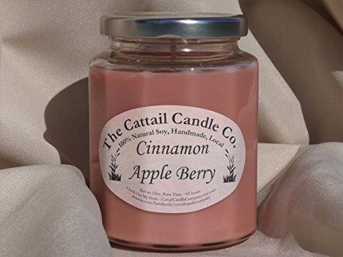 Candle Cattail (Cinnamon Apple Berry - 100% Soy Candle, 12 fl oz)
