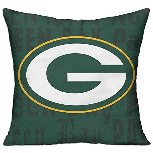 Gdcover Custom Green Bay Packers Team Pillow Covers Thick Heavy Throw Pillow Cases Decorative Cotton Linen Pillowcase Protecter with Zipper - 18x18 -
