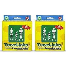 2 x 3 Packs TravelJohn Unisex Disposable/Resealable Urinals
