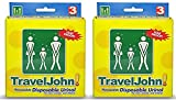 TravelJohn 66918EU3 Resealable Disposable Urinals (3 Pack) (Pack of 2)