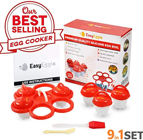 Egg Cooker As Seen On Tv Silicone Cups - Soft/Hard Boiled Eggs Without Shell - 9in1 Set PREMIUM QUALITY NonStick | 6Cups, Holder, Free Brush&Spoon, Instruction | Add Eggs Flavour by EasyEggie!