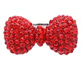 Red Rhinestone Ribbon Bowtie Party Cocktail Ring Adjustable Stretch Band Valentine's Day Jewelry