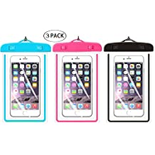 """Universal Waterproof Case,iBarbe Cellphone Dry Bag Pouch for iPhone 7 6s 6 Plus SE 5s 5c 5, Galaxy s8 s7 s6 edge, Note 5 4, LG G6 G5,HTC 10,Sony Nokia,diagonal Devices up to 5.7""""(blue+pink+black)"""