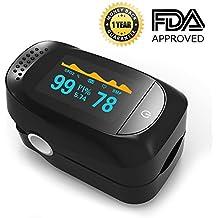 Pulse Oximeter, Finger Portable FDA Approved Digital Blood Oxygen and Pulse Sensor Meter with Alarm SPO2 For Adults and Children (High-end models)