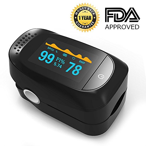 Spo2 Sensor Finger - Pulse Oximeter, Finger Portable FDA Approved Digital Blood Oxygen and Pulse Sensor Meter with Alarm SPO2 For Adults and Children (High-end models)