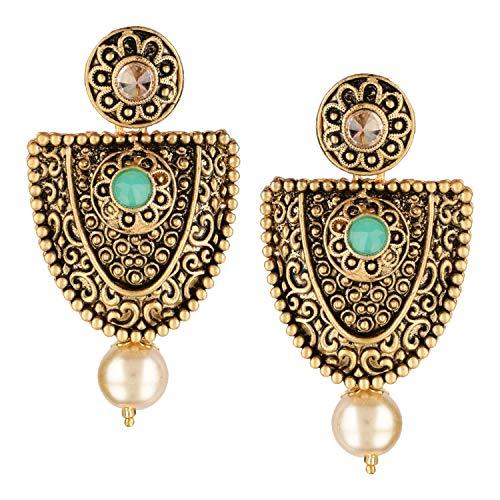Efulgenz Boho Vintage Antique Gold Ethnic Gypsy Tribal Indian Bollywood Crystal Pearl Drop Dangle Earrings Jewelry Set