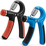2 Pack Adjustable Hand Strengthener, FineGood Forearm Wrist Finger Rubber Hand Grip Gripper Exerciser Resistance Range 22-88 Ibs (10-40kg) for Women Men Kids – Blue, Orange