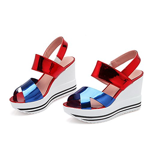 Amoonyfashion Womens High Heels Assorti Colour Pull On Sandalen Open Teen Blauw