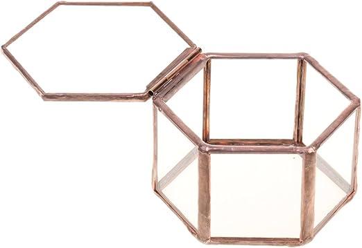 F Fityle Joyero de Vidrio Caja Hexagonal de Cobre Claro para Almacenamiento de Collar de Anillo: Amazon.es: Hogar