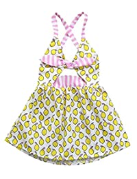 SUPEYA Baby Girls Lemon Stripe Printed Bowknot Skirt Backless Sleeveless Dress