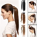 Remeehi Real Human Hair Ponytail Extensions Straight Clip in Wrap Around Hair Pony