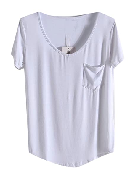 aad93d7f166 Image Unavailable. Image not available for. Color: Beloved Women Relaxed  Fit Casual V Neck Short Sleeve Chest Pocket Solid Modal T-shirt