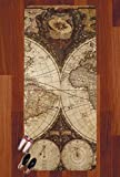 Vintage World Map Runner Rug - 3.66'x8'